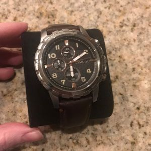 Mens Brown Leather Fossil Watch